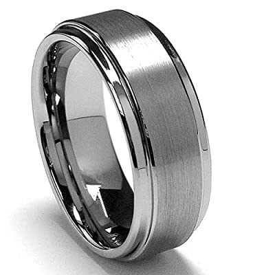 King Will 8mm White Tungsten Ring Wedding Band Step Edge Brushed Center Any Size