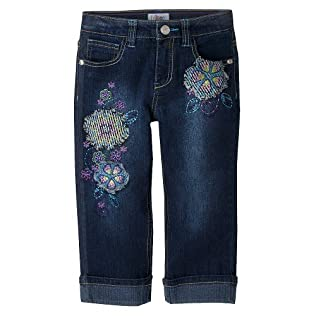 Girls' Circo® Dark Wash Embroidery Cropped Denim Capris