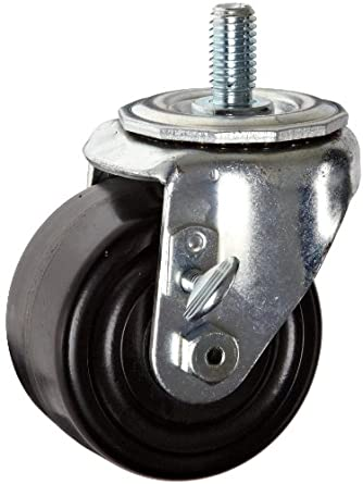 E.R. Wagner Stem Caster, Swivel with Thumb Screw Brake, Dual Wheel, Hard Rubber Wheel