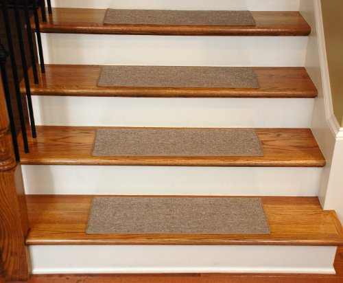 "Carpet Stair Treads 27"" x 9"" - Beige - Set of 13 - Double-Sided Tape Included"