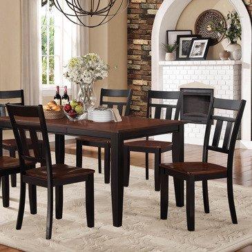 Homelegance Westport 5 Piece Dining Room Set in Black & Cherry