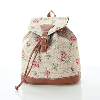 Women's Small Rucksack Backpack Fashion Bags Canvas Pink Rose Design