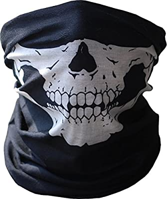 Motorcycle Face Mask Xpassion Skull Mask Half Face for Out Riding Motorcycle Black