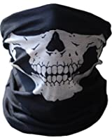 Motorcycle Face Masks 2 Pieces Xpassion Skull Mask Half Face for Out Riding Motorcycle Black Lifetime Warranty
