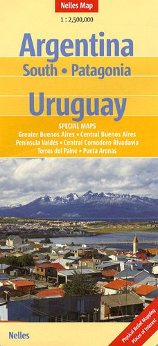 Southern Argentina, Patagonia and Uruguay Nelles Map (English, French, Italian and German Edition)