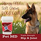 Pet MD Hip and Joint Supplement for Dogs Triple Strength Glucosamine, Chondroitin, MSM - 240 Count Hypoallergenic and Grain Free Soft Chews