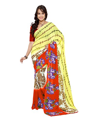 Fabdeal Ethnic Printed Orange and Yellow Georgette Saree  available at amazon for Rs.499