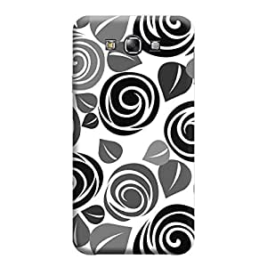 MakemyCase Samsung E7 Spiral Leaf 3D Matte Finishing Printed Designer Hard Back Case Cover (Black)