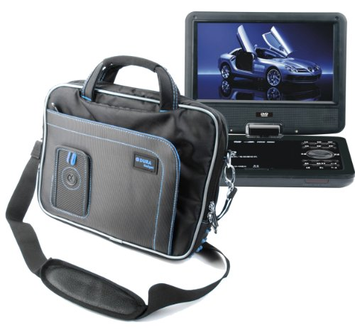 "Duragadget Water Resistant Two Tone Blk+Blue Portable Dvd Carry-Case With Extra Storage Pockets For Bush 9 Inch Widescreen Portable Dvd Player, Buyinsummer 9.5"" Portable Dvd Player Remote Control In Car Game+Usb+Tv+Sd Swivel & Flip New, Curtis Dvd7014Uk P"