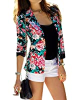 Lady Flower Printed Short Suit Overcoat Long Sleeves Jacket Fashion OL New