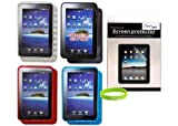 Crazyondigital 4 TPU Cases with Screen Protector for Samsung Galaxy Tab P1000. Bonus Free Wristband Included