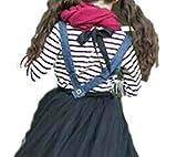 hipa hipa ボーダー カットソー リボン付き 長袖 キッズ 服 ガールズ シンプル シマシマ 赤 黒 白(サイズ140cm黒×白)