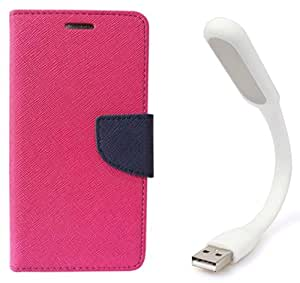 Novo Style Book Style Folio Wallet Case Nokia Lumia 535 Pink + Mini USB LED Light Adjust Angle / bendable Portable Flexible USB Light