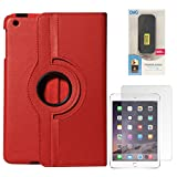 DMG Full 360 Rotating Cover Case For Apple Ipad Mini 3 (Red) + 6600 MAh PowerBank + Matte Screen