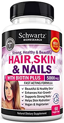 Hair Skin and Nails Vitamin with Biotin 5000. Promotes Hair Growth Glowing Skin Strong Nails. Natural & Vegetarian. Good as Phytoceramides 350 mg Anti-aging Skin Care. Made In USA Money Back Guarantee