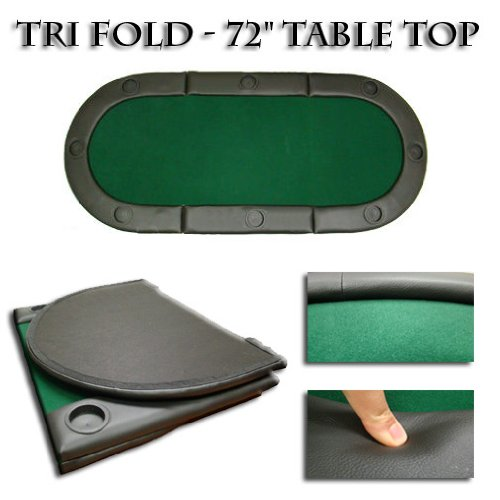 72 Inch Tri-fold Poker Table Top W/cup Holders
