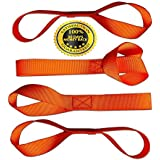 Soft Loop Tie Down Straps 4 Pack, factory tested at 2,272 Lb. break strength. Our safety orange hook and loop soft wraps will protect your ATV, Snowmobile, UTV, Motorcycle and Lawn and Garden equipment from scratches when using tie-down hook straps.