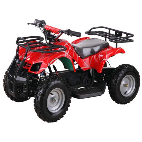 Youth Electric Atv Kids Utility Quad For Children With Reverse - Black Spider - Red Spider