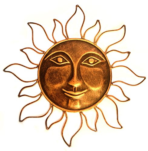 WinnerBrown Metal Wall Art Sun in Antique finish, 16 Inch