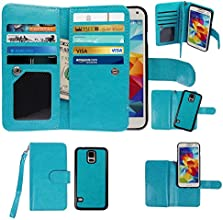 Samsung Galaxy S5 Case, xhorizon TM Premium Leather Folio Case [Wallet Function] [Magnetic Detachable] Fashion Wristlet Purse Soft Flip Multiple Card Slots Cash Compartment Pocket with Magnetic Closure Case Cover Skin ZA5 for Samsung Galaxy S5 (i9600) - Blue