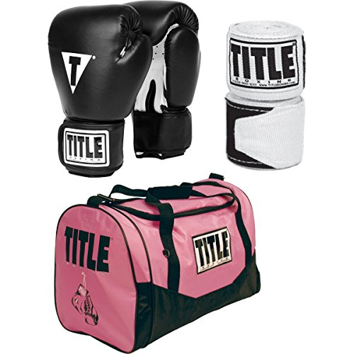 TITLE Boxing Womens Fitness Set With Gloves Hand Wraps And Gym Bag