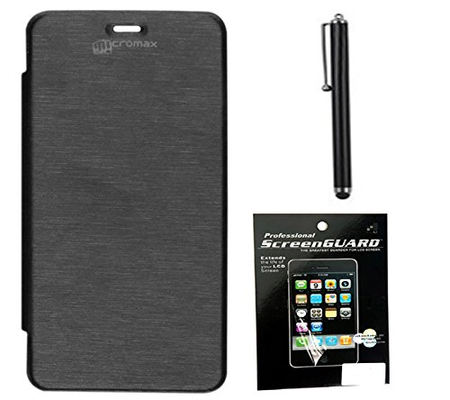 DavidKarter Flip Cover For Micromax Canvas Turbo A250 (Black) + Screen Guard + FREE Stylus