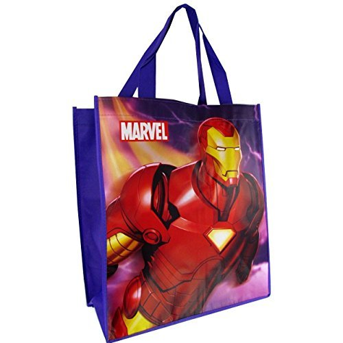 "Iron Man Tote Bags Purple (15""x14""x6"" Woven Reusable) - 1"