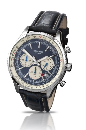 Sekonda Midnight Chronograph Blue & Cream Dial Blue Leather Strap Gents Watch 3443