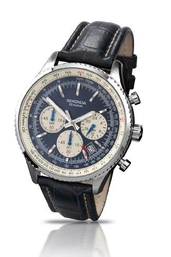 Sekonda Midnight Chronograph Blue & Cream Dial Blue Leather Strap Gents Watch 3443