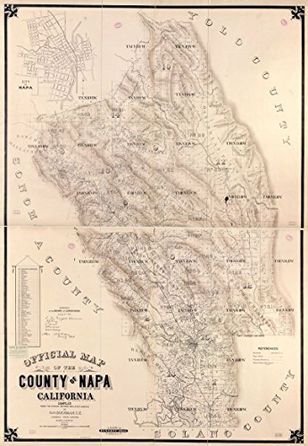 1895 Old Historical Map Napa Valley California Wine Country - Various Sizes Reprint (Wine Country Art compare prices)