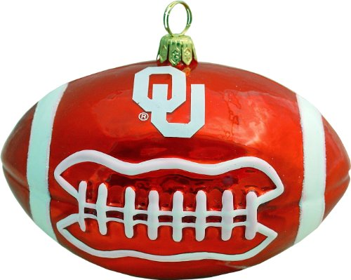 Oklahoma Sooners Football Blown Glass Ornament