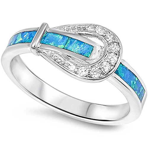 Lab created Blue Opal & Cz Belt Buckle .925 Sterling Silver Ring Size 8 (Silver Belt Buckle Ring compare prices)