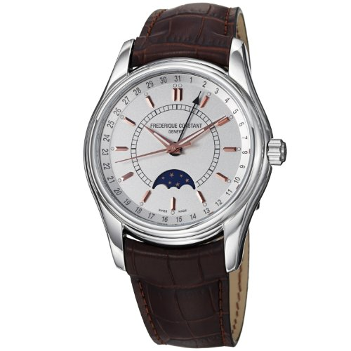 Frederique Constant Men's FC330V6B6 Index Brown Strap Moon Phase Watch