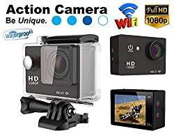 Gadget Hero's 12MP HD 1080P Sport Action Waterproof Wifi Camera With 2 Inch LCD CMOS Sensor With Multiple Accessories. Black Color. Compatible with Go Pro Camera accessories.