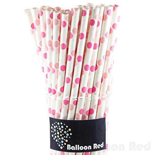Biodegradable Paper Drinking Straws (Premium Quality), Pack of 50, Polka Dot - Pink