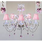 """CHANDELIER LIGHTING W/ CRYSTAL PINK SHADES & HEARTS! H25"""" x W24"""" - PERFECT FOR KID'S AND GIRLS BEDROOM!"""