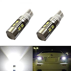 JDM ASTAR Super Bright AX-2835 Chipsets 912 921 T10/T15 Backup Reverse Light Bulbs,Parking lights, Xenon White