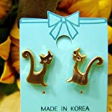 Gold long tail cat earrings cat, cat, cat (japan import)