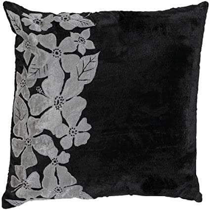 Surya P-0045 Machine Made 50% Rayon / 50% Cotton Black 18 x 18 Decorative Pillow