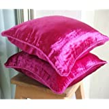 Fuchsia Love - 20x20 inches Decorative Fuchsia Pink Velvet Pillow Covers with Handmade Bead Border