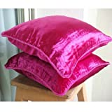 Fuchsia Love - 26x26 inches Square Decorative Throw Fuchsia Pink Velvet Euro Sham Covers with Handmade Bead Border
