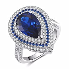buy Caperci Sterling Silver Pear Cut Cubic Zirconia Created Blue Sapphire Ring Size 7