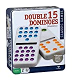 Cardinal Industries Double Fifteen Color Dot Dominoes in a Collectors Tin