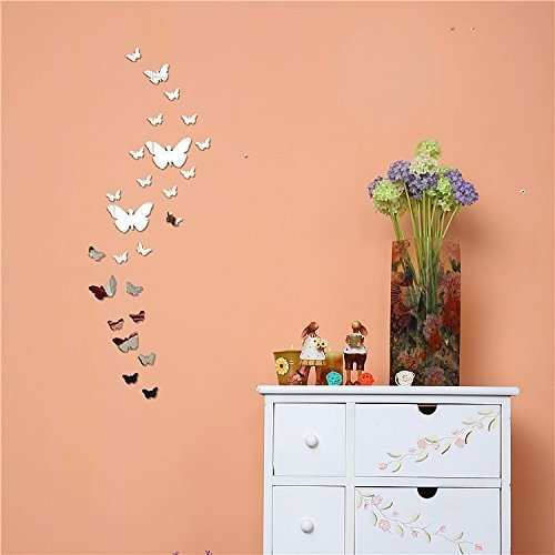Gearmax 25pcs papillon acrylique miroir rectangle mur for Papier miroir autocollant