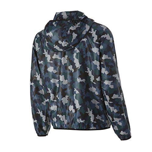 Men's Waterproof Windbreaker Quick Dry Outdoor Military Jacket with Hood (L, BLUE)