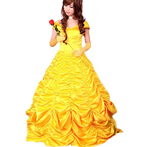 Wraith of East Adult Princess Belle Cosplay Costume Satin Yellow Dress