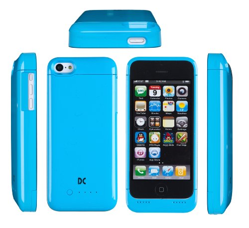 """Dandycase """"Double Life"""" Removable External Battery Case Cover For Apple Iphone 5S / Iphone 5C / Iphone 5 (Blue)"""