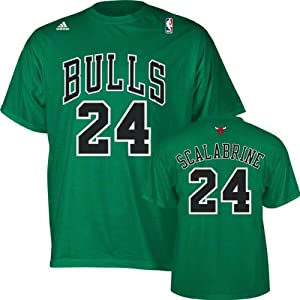 Brian Scalabrine adidas St. Patrick's Day Green Name and Number Chicago Bulls T-Shirt