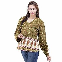 Jaipur Kala Kendra Women's Cotton V Neck Floral Printed Casual Top Medium Green