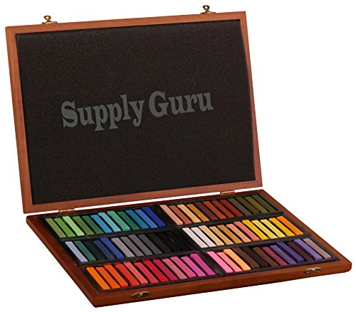 Pro Art Square Artist Soft Pastels 72 Basic Colors in Wood Box/Square Chalk Set/ Arts and Crafts Supplies Deluxe